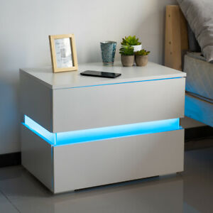 Modern LED Light Nightstand With 2 Drawers - White