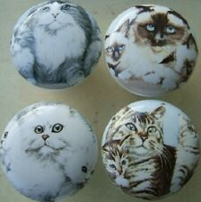 New listing Ceramic Cabinet Knobs 4 Cat Family Families Himilayan Tabby Persian kitten
