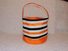 Orange and Black Stripe Halloween Bucket, Trick or Treat Bag