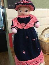 Hand Knitted Rag Doll In Long Navy And Pink Dress Petticoats Hat