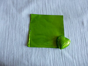40 -50 Square Foil Wrappers for Chocolates & Sweets in Lime Colour. 80mm x 80mm.