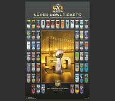 Super Bowl 50 SUPER TICKETS 49 Years of Game History, Ticket Designs WALL POSTER