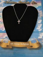 Women fashion jewelry Silver color red cubic zircon charm cross necklace