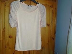 Pretty peach orange hip length top, sheer sleeves, ATMOSPHERE, size 14