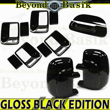 1999-2007 Superduty 4DR GLOSS BLACK Door Handle Covers 1KH+Mirrors+Tailgate noKH