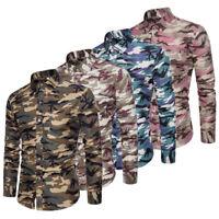 Luxury Stylish Men's Slim Fit Casual Shirts Long Sleeve Camo Dress Shirts Tops