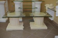 Couchtisch Wohnzimmertisch Rechteckiger Glastisch Säulentisch 120cmx60cm Beige