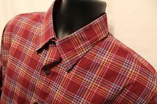 Dockers Red Plaid Men's Button Front Shirt Size Large Cotton Blend