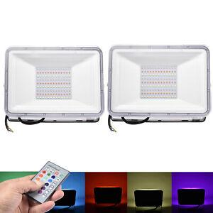 2X 100W LED Fluter RGB Strahler Scheinwerfer Flutlicht Außen Mit Fernbedienung