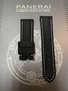 Panerai OEM 24mm Black Nylon Strap w White Stitch for Tang Buckle