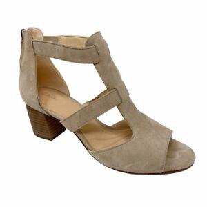 Clarks Deloria Ankle Strap Sandals Block Heels Shoes Beige Zip Up Womens 8 M