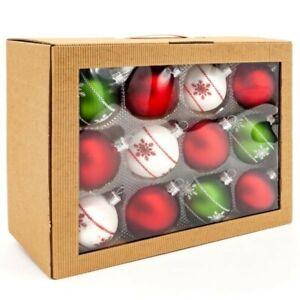 Set 6cm x 24pcs Handmade Mat Decor Glass Baubles Handcrafted Christmas Tree
