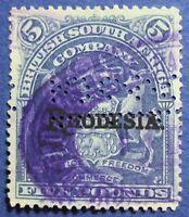 1909 RHODESIA 5L SCOTT# 100B SG# 113e USED PERFIN CS03248