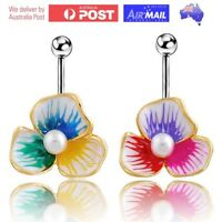 Lotus Leaf Flower Pearl Droplet Belly Button Ring Piercing Floral Jewellery