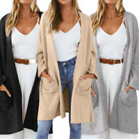 Women's Knitted Fluffy Cardigan Thick Warm Sweater Pocket Outwear Coats Jacket