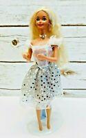 "MATTEL BARBIE Doll Long Blonde Hair Blue Eyes White Dress 12"" Tall Free Shipping"