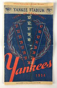 1954 New York Yankees vs. Detroit Tigers Offical Program & Scorecard (unscored)