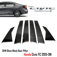 Gloss Black Pillar Door Sash Sedan 6 Garnish Trim Genuine Part Honda Civic 15-19
