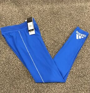 Adidas Tech Heat RDY Long Compression Tights Mens Small Blue With White Logo