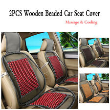 2x New Natural Wooden Beaded Massage Car Seat Covers Home Chair Cooling Cushions