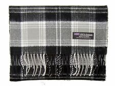 100% CASHMERE Scarf Black Grey Check Plaid Warm Graham SCOTLAND Wool Men ZS64