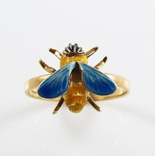 Vintage 14k Gold Enamel Insect Bee Ring Size 6.75
