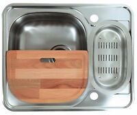 594 x 488mm Reversible Inset 1.5 Bowl Stainless Steel Kitchen Sink (LA005)