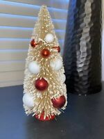 """Retro Vintage Style Bottle Brush Tree Natural & Red Decorated Christmas-9""""- New"""