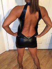 Mini robe de soirée sexy dress provocante noir effet cuir dos nu neuf Taille S