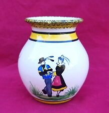 HENRIOT QUIMPER Dancers Ball Vase French Hand Painted Faience