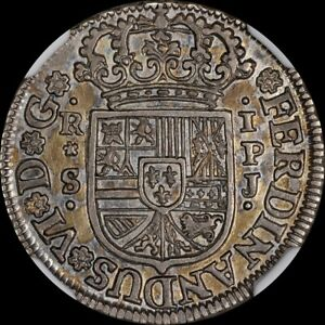 FINEST KNOWN AT PCGS & NGC AU58 1751 S PJ ONE REALE 1 REAL SPAIN TONED TOP POP