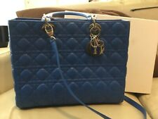 Authentic Christian Dior lady large 2 way shoulder bag  purse with strap blue