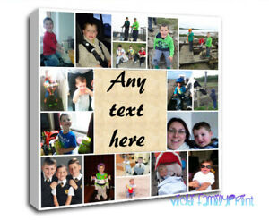 """PHOTO COLLAGE CANVAS 20""""X20""""  PERSONALISED FAMILY GIFT BIRTHDAY ANY MESSAGE"""