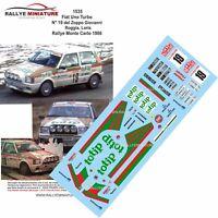 DECALS 1/18 REF 1535 FIAT UNO TURBO DEL ZOPPO RALLYE MONTE CARLO 1986 RALLY WRC