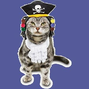 """PetCo Bootique""""PIRATE""""XS/S Dog O/S CAT Halloween Costume Dreads Ruffle Ascot Hat"""