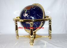 "14"" Blue Ocean Gold 4- leg table stand Gem MOP Gemstone World MAP globe"