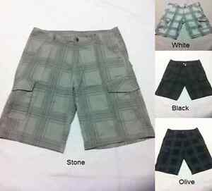 New Mens Casual Cargo Outdoor Walk Check Shorts in Black, Olive, Stone, White