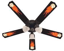 "New HOT FLAMES BASEBALL SPORTS Ceiling Fan 52"""