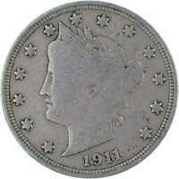 1911 5c Liberty Head V Nickel US Coin About Fine