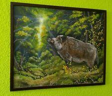 Ölgemälde, Jagd, Keiler, Wildschwein, Eber, Herbst, Wald, Bild