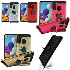 new Brushed RING KICKSTAND MAGNET Case Cover FOR SAMSUNG A21 metro pcs t-mobile