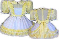 """Myrna"" Custom Fit YELLOW Eyelet Daisies Adult LG Baby Sissy Dress & Sash LEANNE"