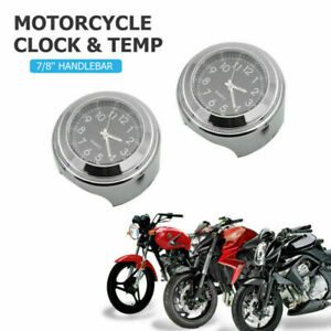 "Waterproof Universal 7/8"" 1"" Motorcycle Motorbike Handlebar Clock & Thermometer"