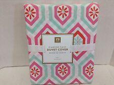 Pottery Barn PB Teen Diamond Daisy TWIN Duvet Bed Cover warm multi Geometric NEW