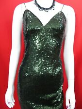 Rare London green sequin mid length evening/party dress Small UK 8, EU 36,