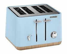 Morphy Richards Scandi Azure 4 Slice Toaster With Wooden Trim (240008)