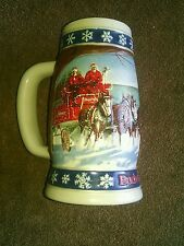 1995,BUDWEISER HOLIDAY BEER STEIN CLYDESDALES, FREE SHIPPING
