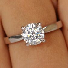 14KT Solid White Gold 2.20 Carat Fantastic Round Shape Solitaire Women's Ring