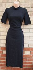 G21 BLACK FLORAL QUILTED LONG NECK BODYCON FORMAL TUBE PENCIL PARTY DRESS 8 S