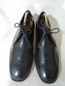 Vintage BARKER Black Leather Lace Up Shoes Size UK 9 E
